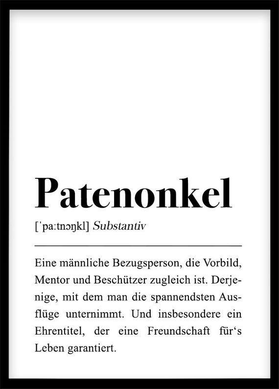 Patenonkel Definition Din A4 Poster Patenonkel Fragen
