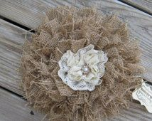 Shabby Burlap Wedding Flower  Celebration  Decor Rustic Romance Chic Cottage Lace Pearl Center Cake Topper Flower Country Decoration