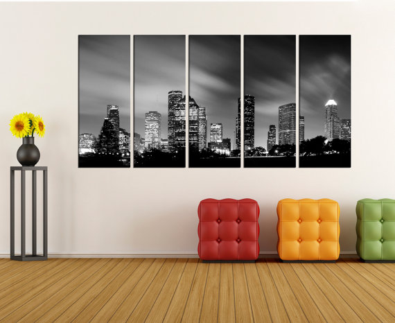 Houston skyline wall art canvas print, canvas art, Extra Large wall ...