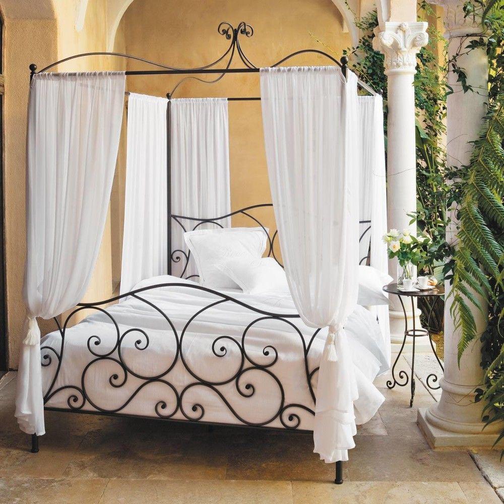 lit baldaquin 140x190 en m tal marron ma chambre cosy parfaite bedroom bed y four poster bed. Black Bedroom Furniture Sets. Home Design Ideas
