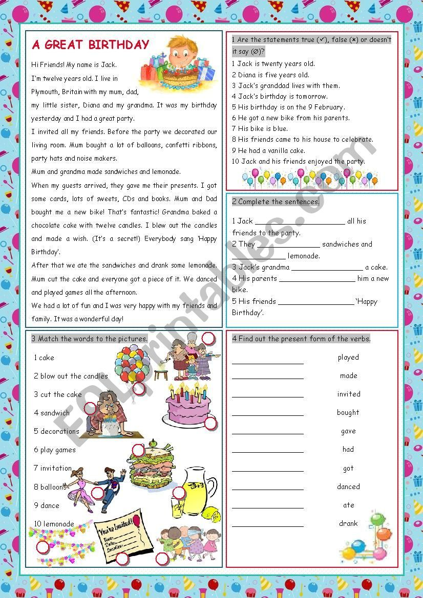Reading Comprehension And Vocabulary Worksheet With A Grammar Exercise Past Simple On The Topic Birthday Party Birthday Vocabulary Worksheets Birthday Party [ 1169 x 826 Pixel ]