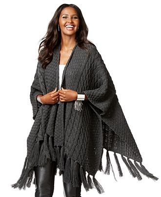 INC International Concepts Cable-Knit Fringe Wrap Poncho, Only at ...