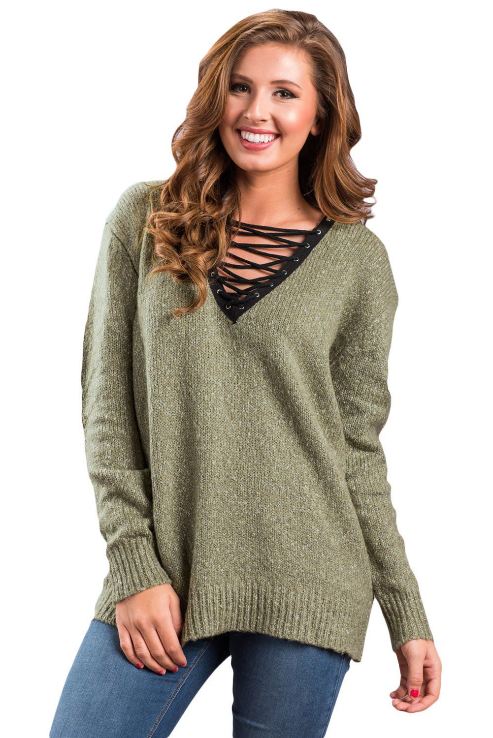 Chicloth Olive Chic Long Sleeve Sweater with Lace up Neckline - XL   Olive  Sweater Outfits 068279909