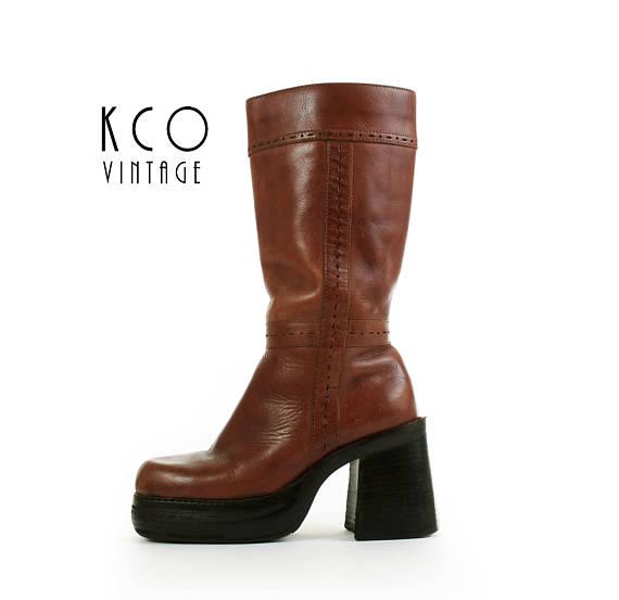 42a8014a4ec Platform Boots 5.5 Brown Leather Mid Calf Chunky Block Heel Women's ...