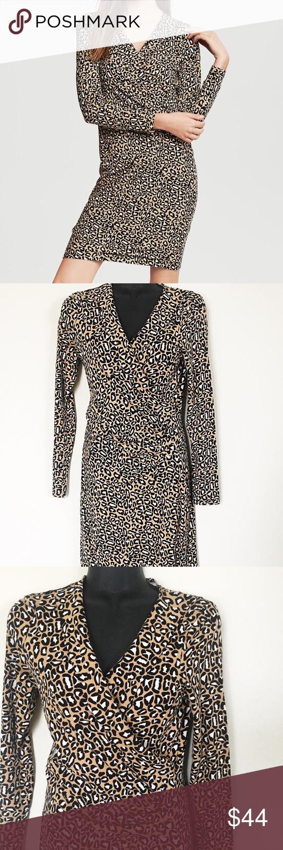 Banana republic leopard long sleeve wrap dress my posh picks