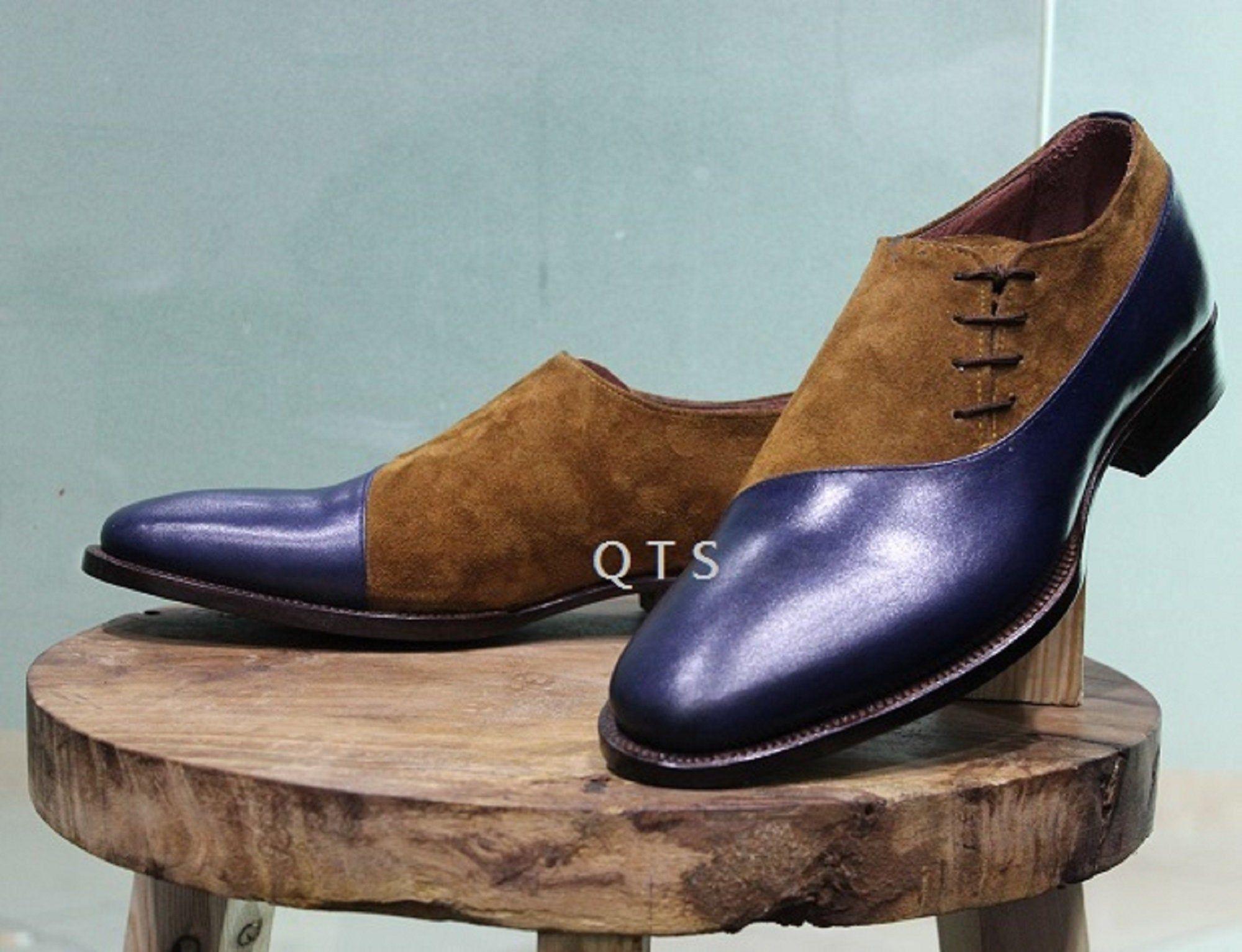 Men S New Handmade Formal Shoes Brown Suede Blue Leather Etsy In 2020 Formal Shoes Leather Shoes Men Dress Shoes Men