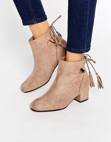 9a5e0423c64 Heels · TRUFFLE COLLECTION Luan Tie Back Kitten heel Boots found on  Nudevotion