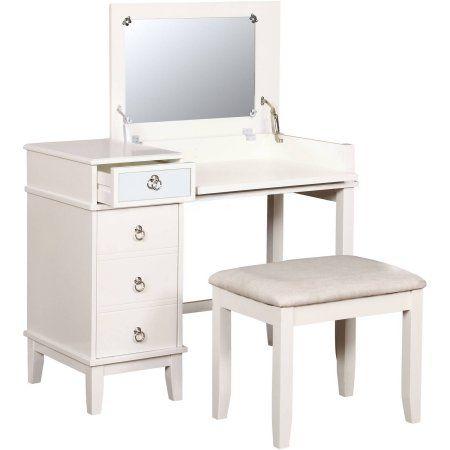 Fantastic Linon Eva Vanity Set Including Mirror And Stool White 18 Evergreenethics Interior Chair Design Evergreenethicsorg