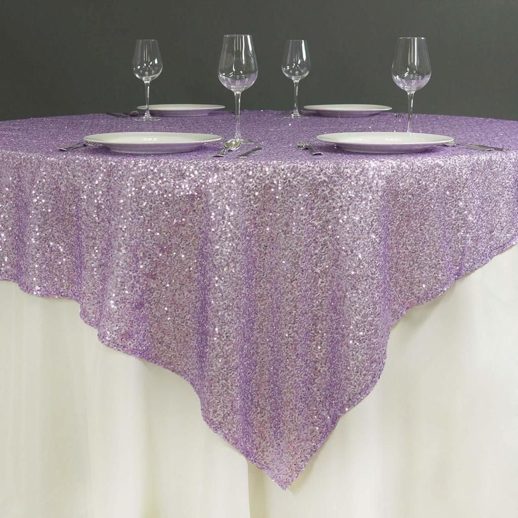 72 X 72 Lavender Sequin Square Overlay Table Overlays