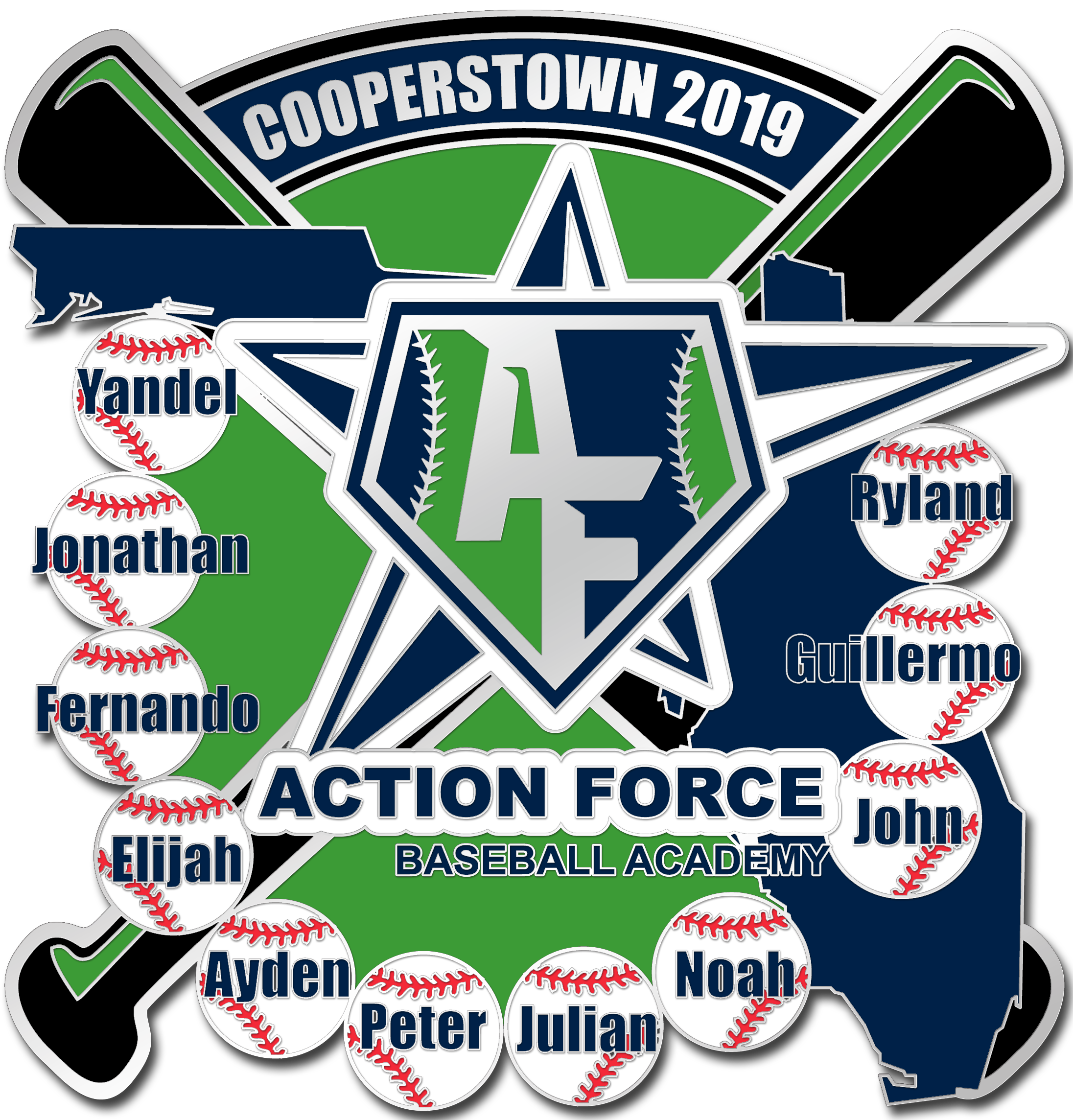 Action Force Cooperstown Pin Custom Lapel Pins Cooperstown Softball Team