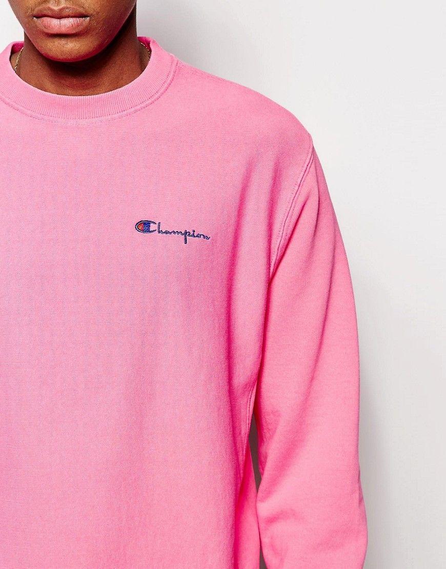 Image 3 of Champion Sweatshirt With Small Script Logo | pink ...