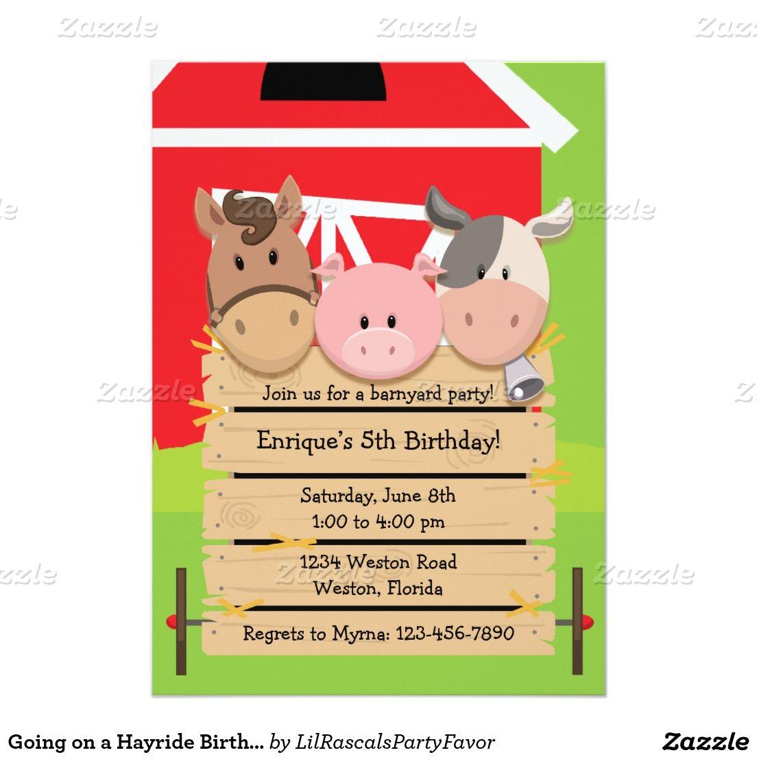 "going on a hayride birthday invitation "" x "" invitation card, invitation samples"