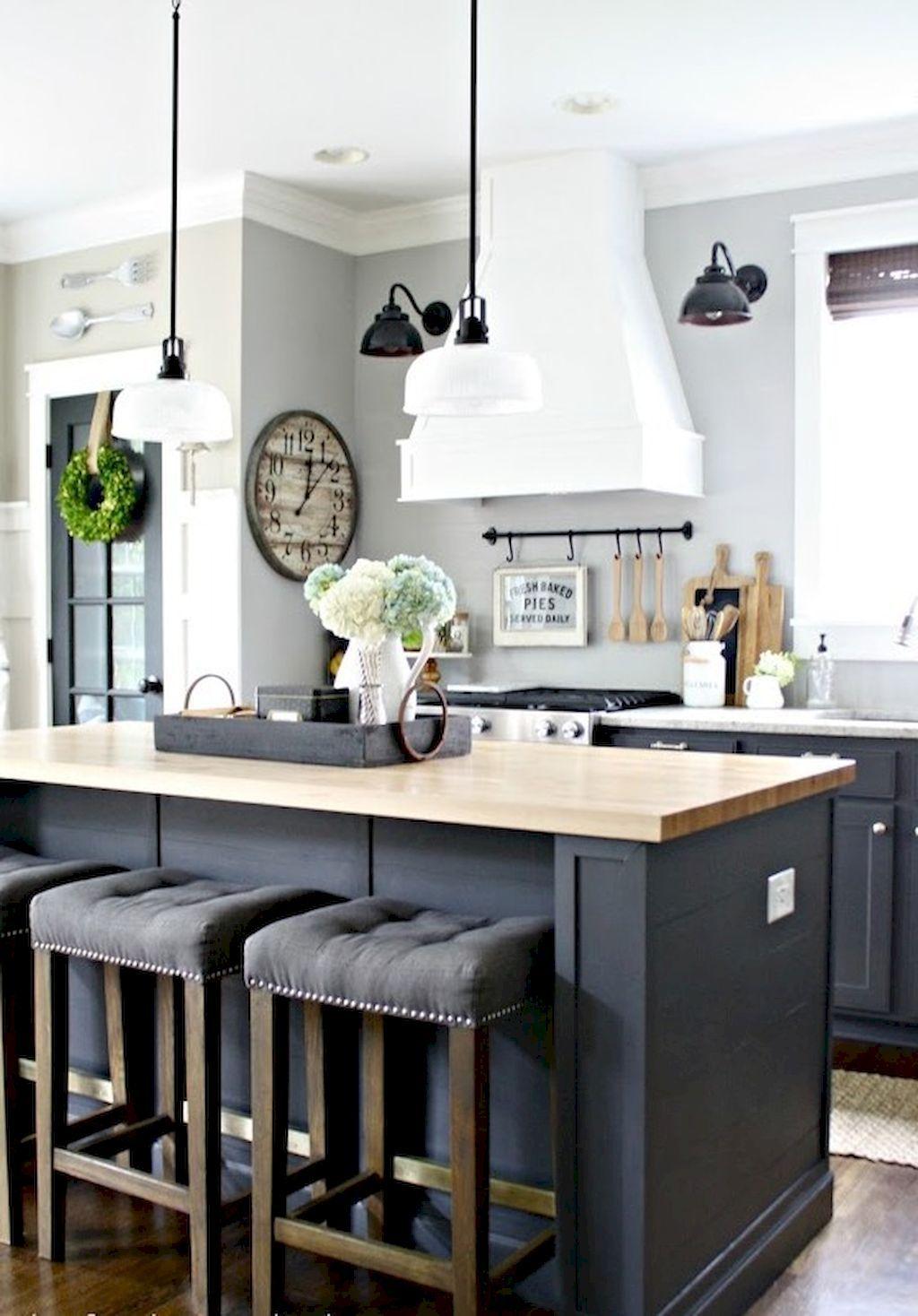 75 Gray Farmhouse Kitchen Makeover Ideas Diy