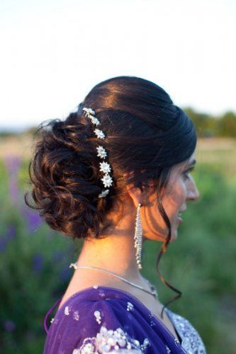 Curl Bun Updo With Silver Flower Pins For The Indian Bride Photo Source Kim Jones Photography C Loose Hairstyles Hairdo Wedding Medium Length Hair Styles