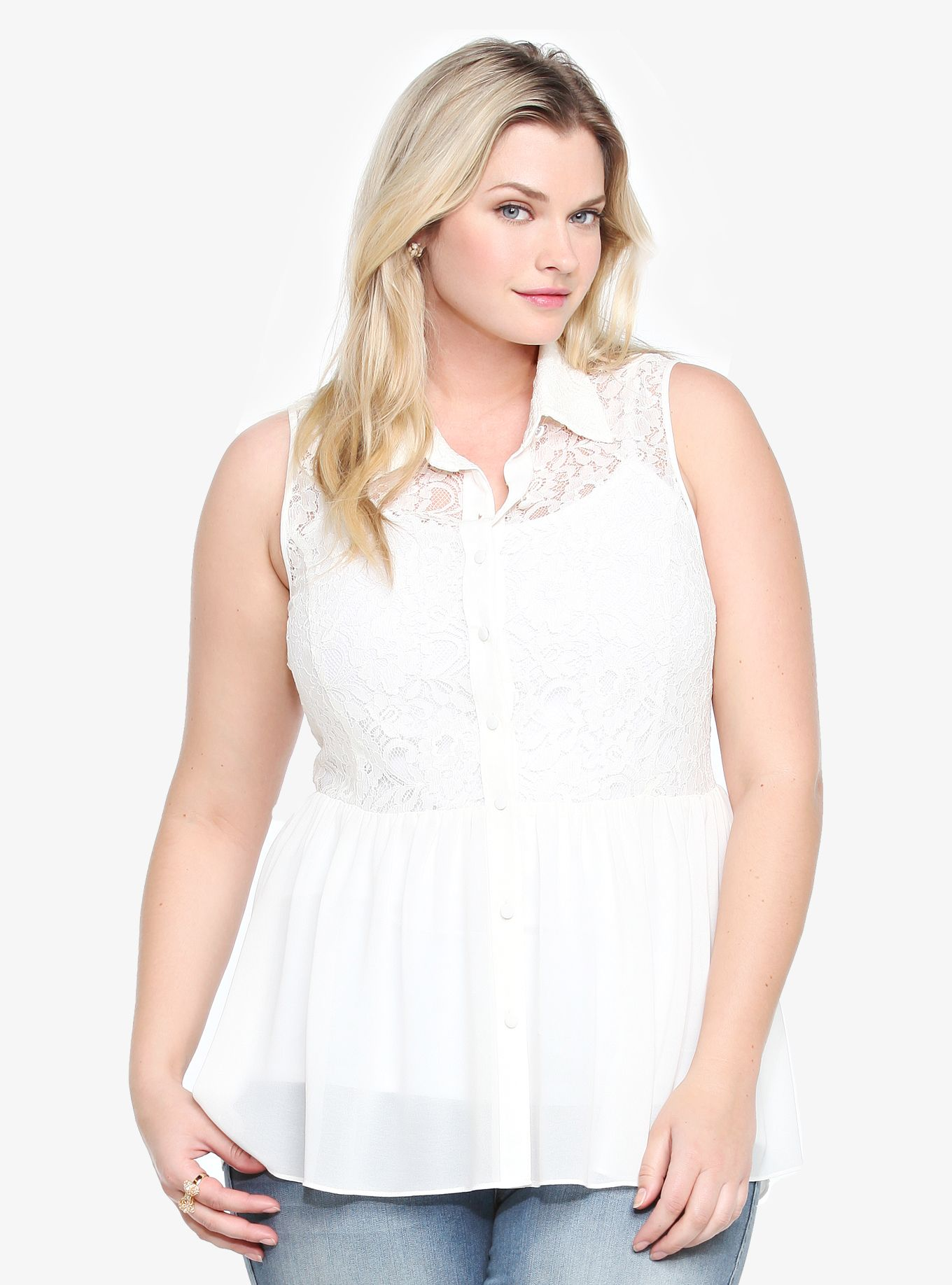 Girly lace meets flowy chiffon on this sleeveless, button-front ivory blouse. The hi-lo peplum silhouette is relaxed and laid-back - so, it's absolute perfection over spring denim.