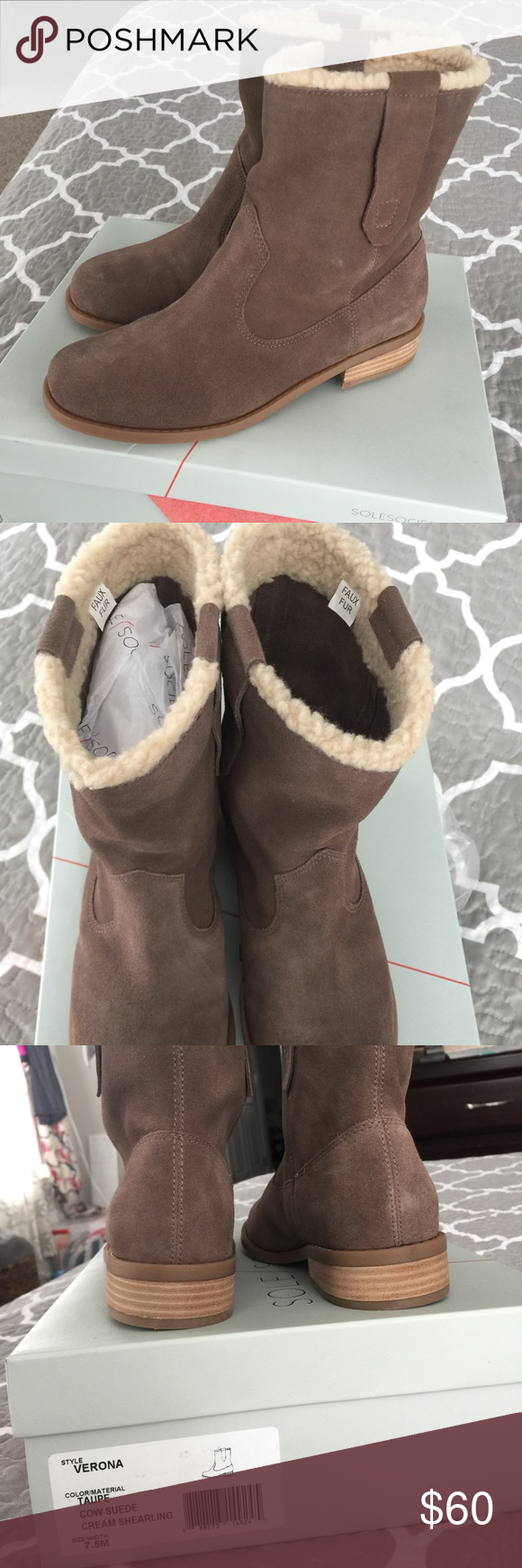 NWT Sole Society Taupe Shearling ankle boots New in box, ordered them and realized the color was very similar to a pair I already have : Shearling detail around top Sole Society Shoes Ankle Boots & Booties