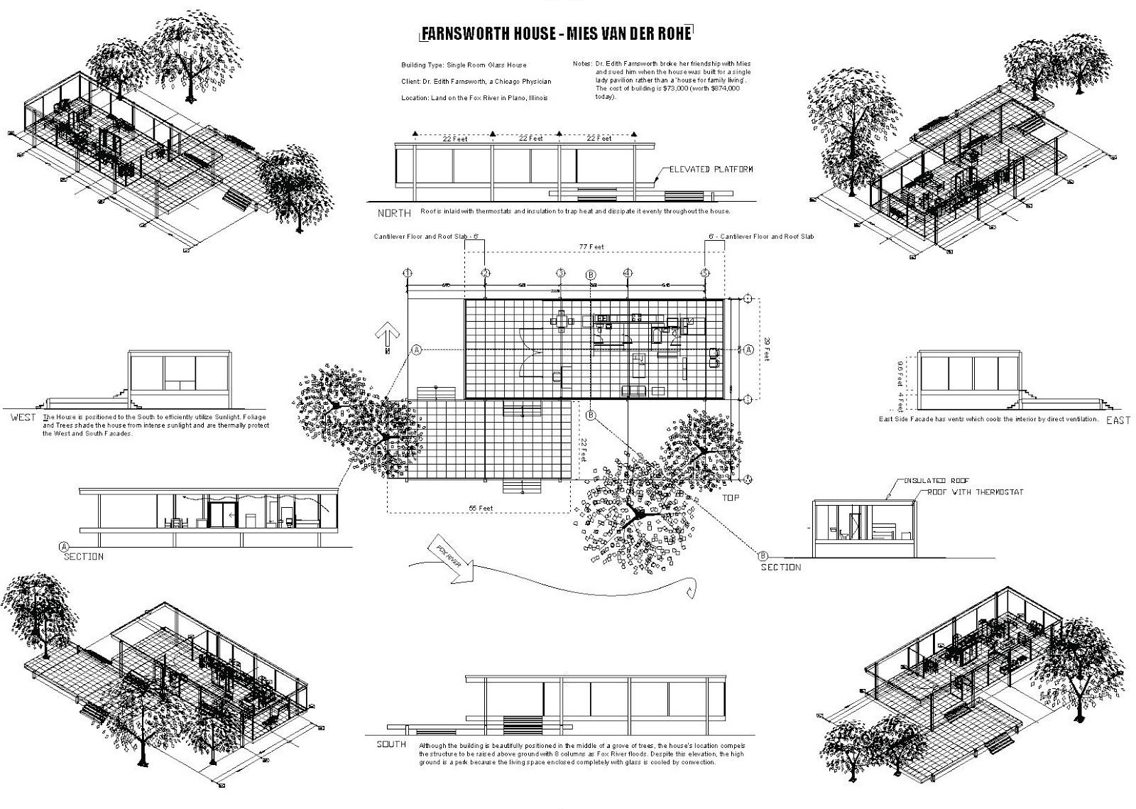 Farnsworth house plan maestri mies pinterest house for Farnsworth house floor plan