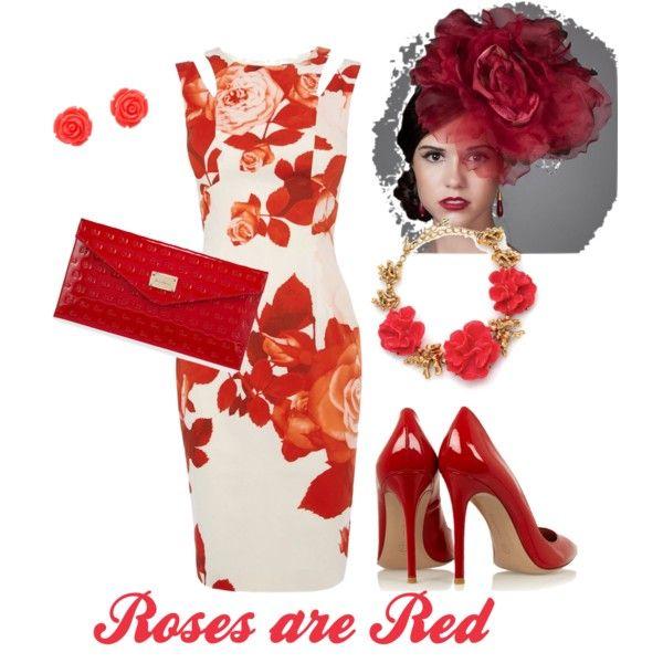 Roses are Red style for NBC's Horsetalk Radio Louisa Barton by fashionatraces on Polyvore featuring Karen Millen, St. John, Oscar de la Renta and Giuseppe Zanotti