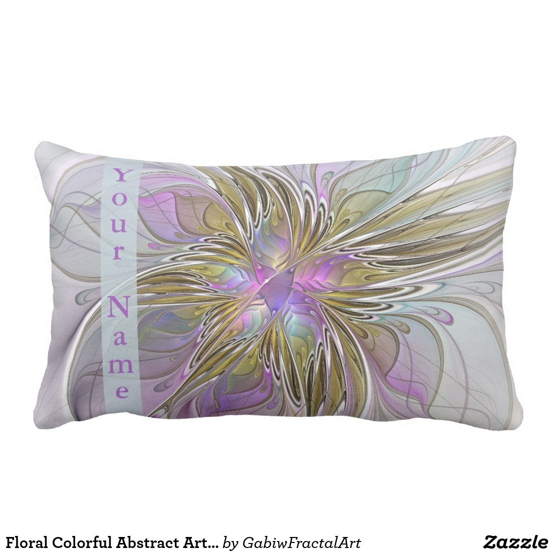 Dekokissen Bunt Floral Colorful Abstract Art With Pink Gold Name Lumbar Pillow