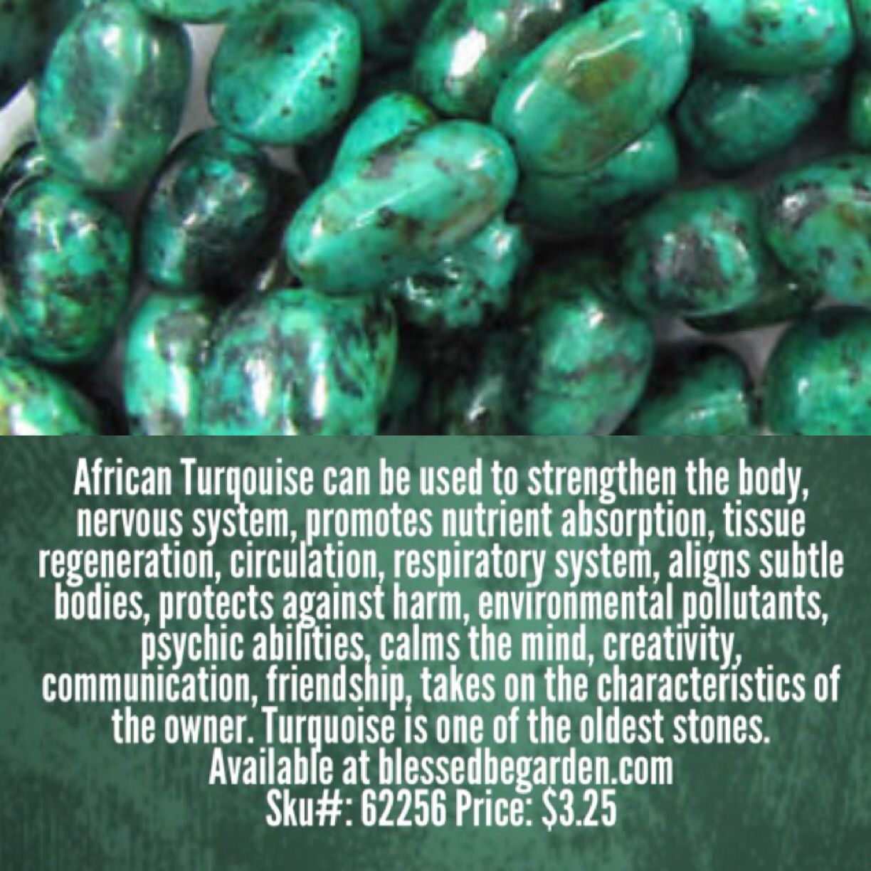 Stone of today is African Turquoise. Available at http