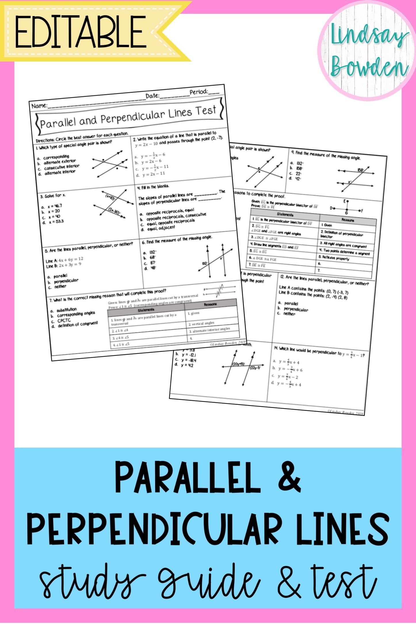 Worksheet Writing Equations Of Parallel Lines