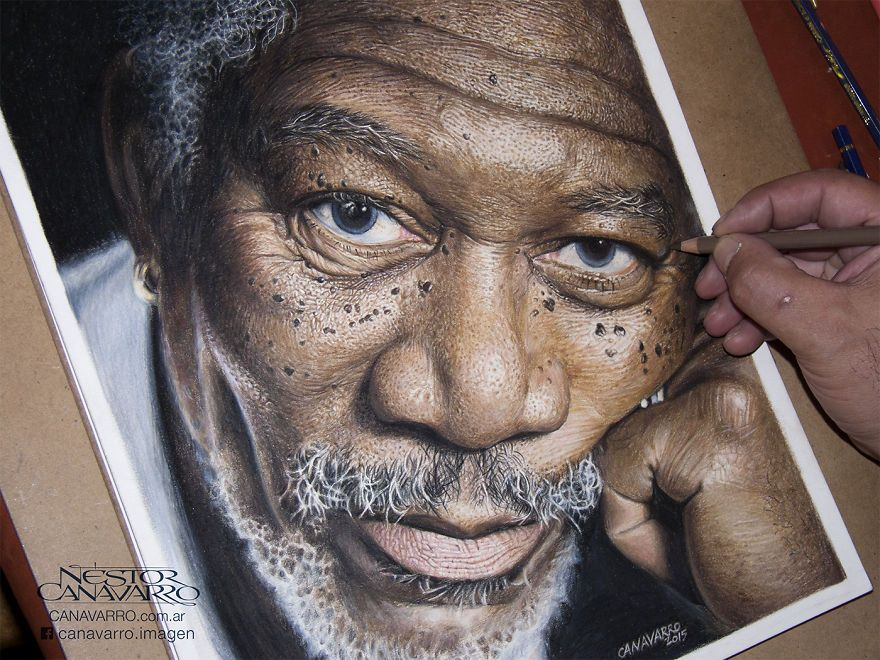 My Hour HighDetail Drawing Of Morgan Freeman In Color Pencils - Artist uses pencils to create striking hyper realistic portraits