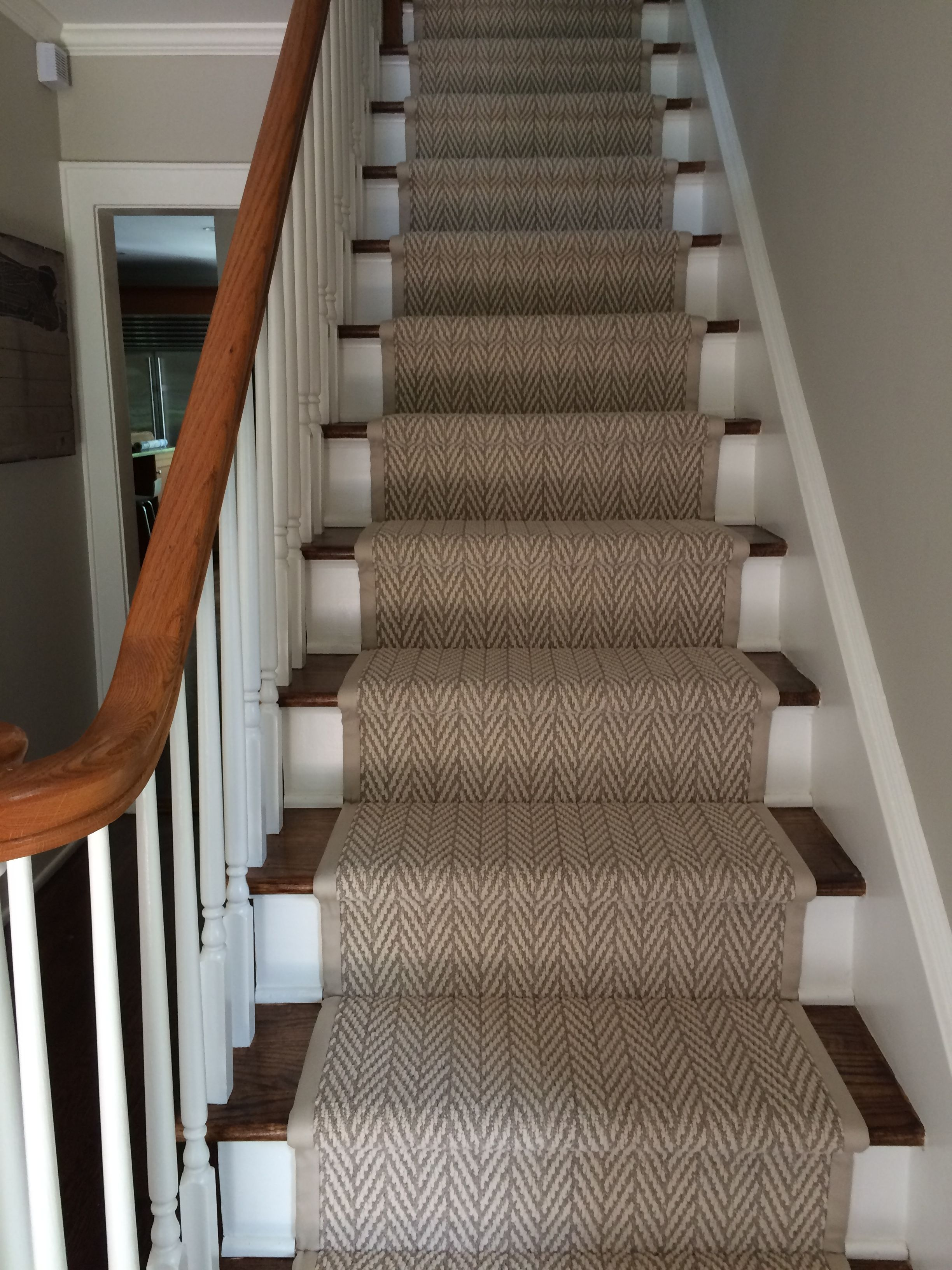 Tuftex Only Natural Herringbone Patterned Runner With Wide Binding