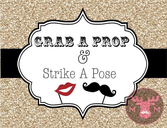 INSTANT DOWNLOAD - Photo Booth Sign, Gold Glitter - Great Gatsby - Roaring Twenties - Vintage - Weddings, Birthdays, Parties