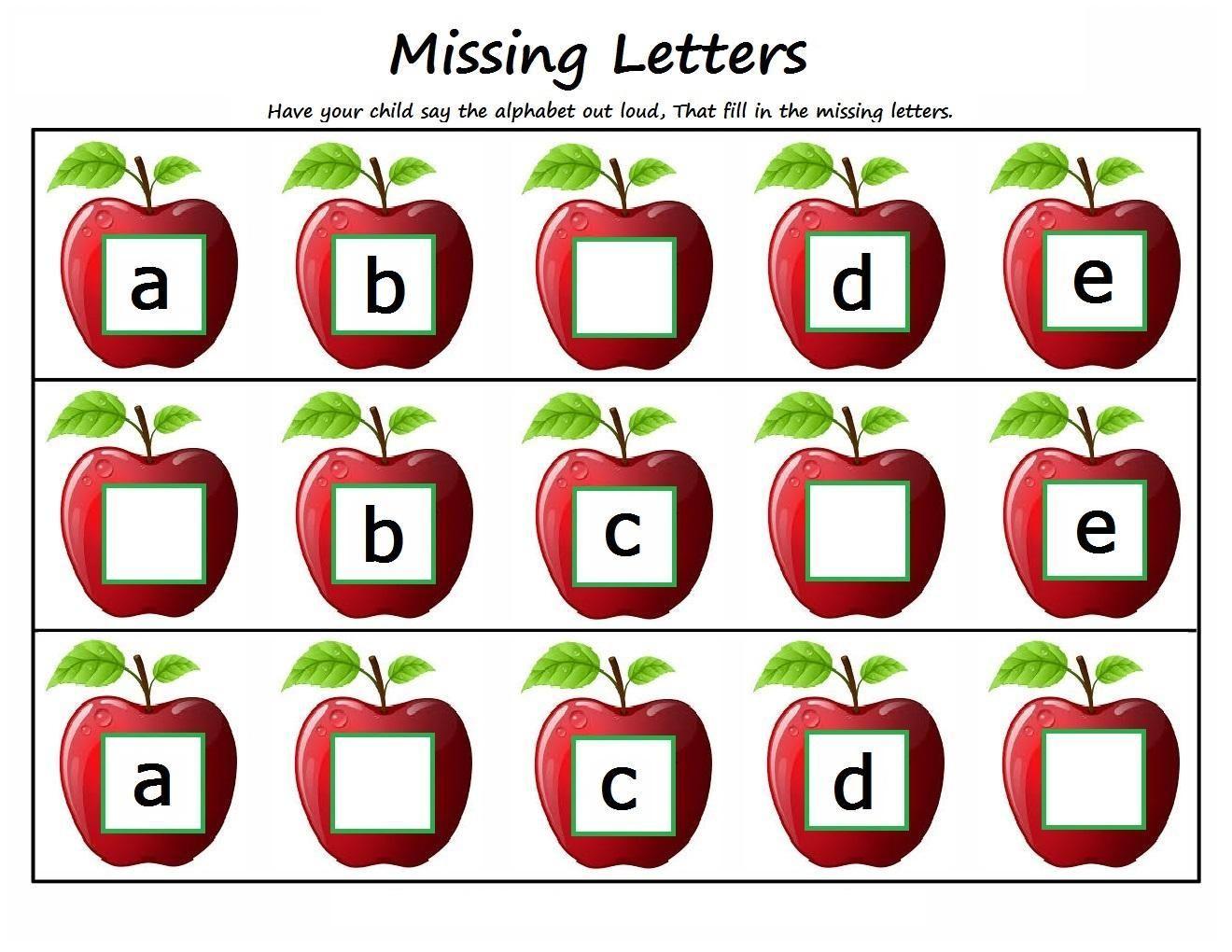 Missing Letters Worksheets For Kindergarten