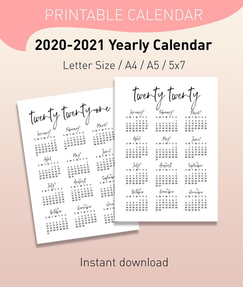Printable 2020 2021 Yearly Calendar Planner Inserts 5x7 A5 A4 Letter Size Instant Download Pdf In 2020 Yearly Calendar Calendar Planner Inserts
