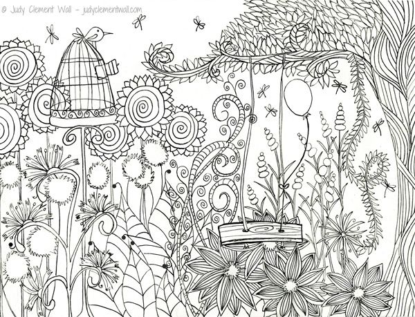 Judy Clement Wall Coloring Pages Garden Coloring Pages Bird