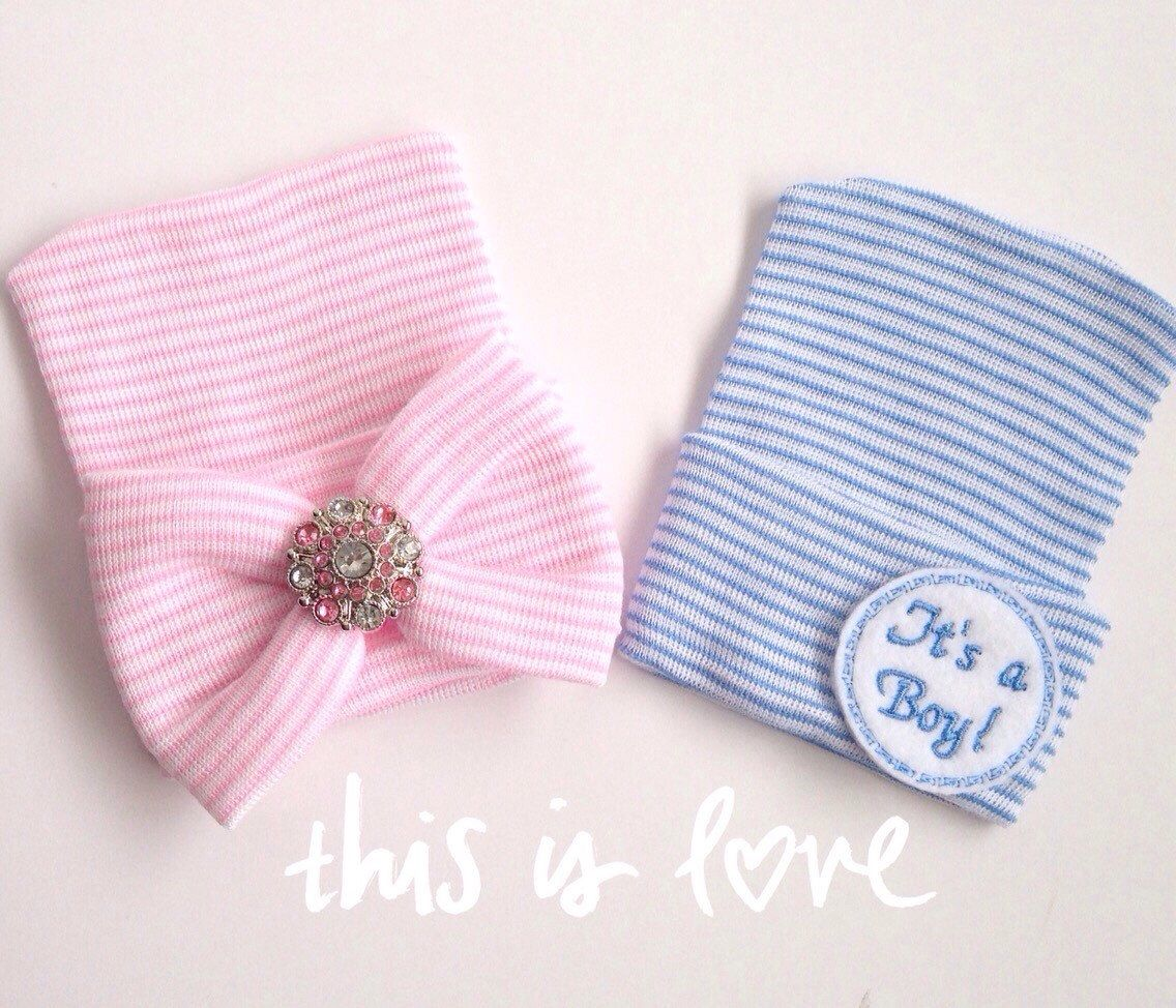 Twin Newborn Hospital Hats Boy Girl Twin Hospital Hats Newborn baby hats for Boy and Girl Twins Pink and Blue Coming Home Outfit Hats by PinkandBlueBonnets on Etsy https://www.etsy.com/listing/208268610/twin-newborn-hospital-hats-boy-girl-twin