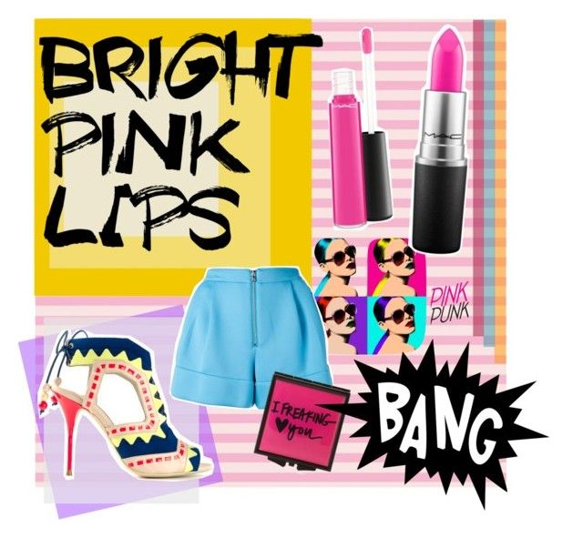 """""""bright pink lips"""" by ginafhr ❤ liked on Polyvore featuring beauty, Albers, Safilo, MAC Cosmetics, 3.1 Phillip Lim, Sophia Webster, Forever 21, MakeOver, Pink and colorful"""