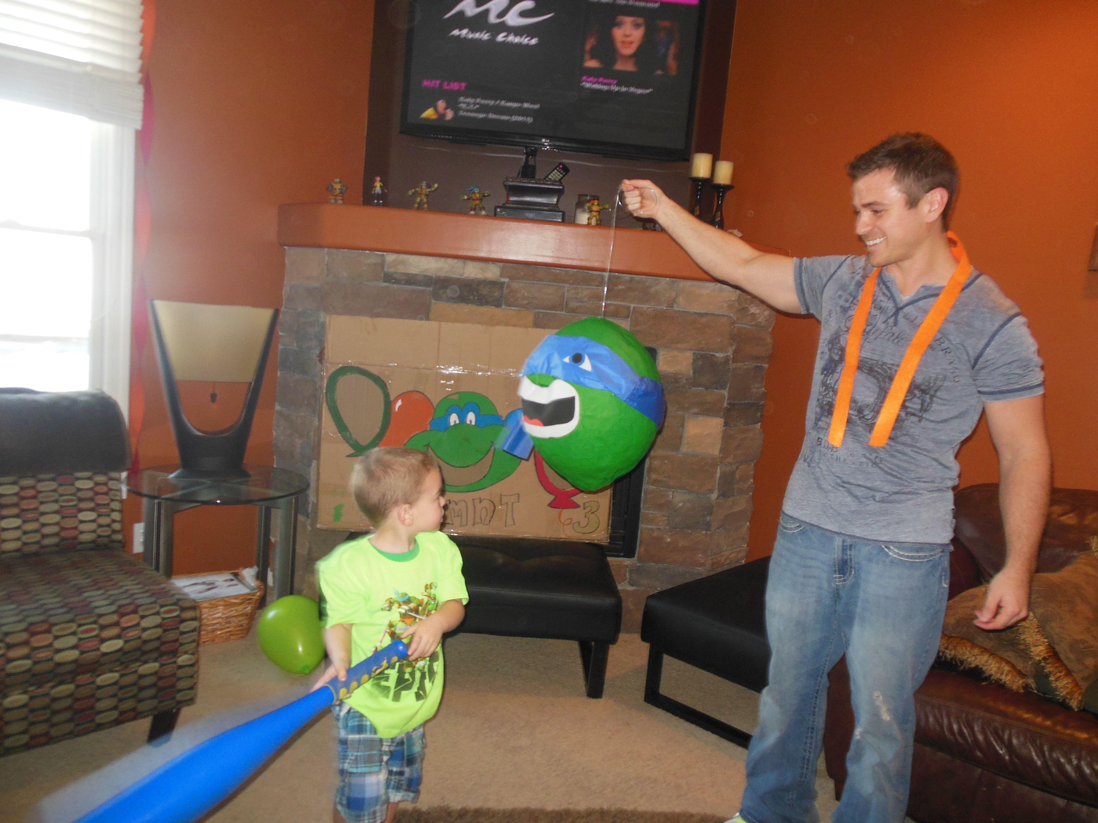 TMNT Piñata, Leonardo, Birthday with the Ninja Turtles. Sisters2Mothers.com