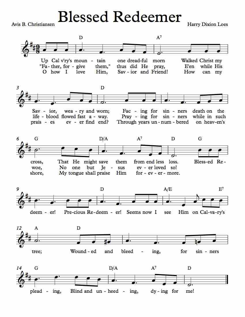 Free Sheet Music For Blessed Redeemer Enjoy With Images