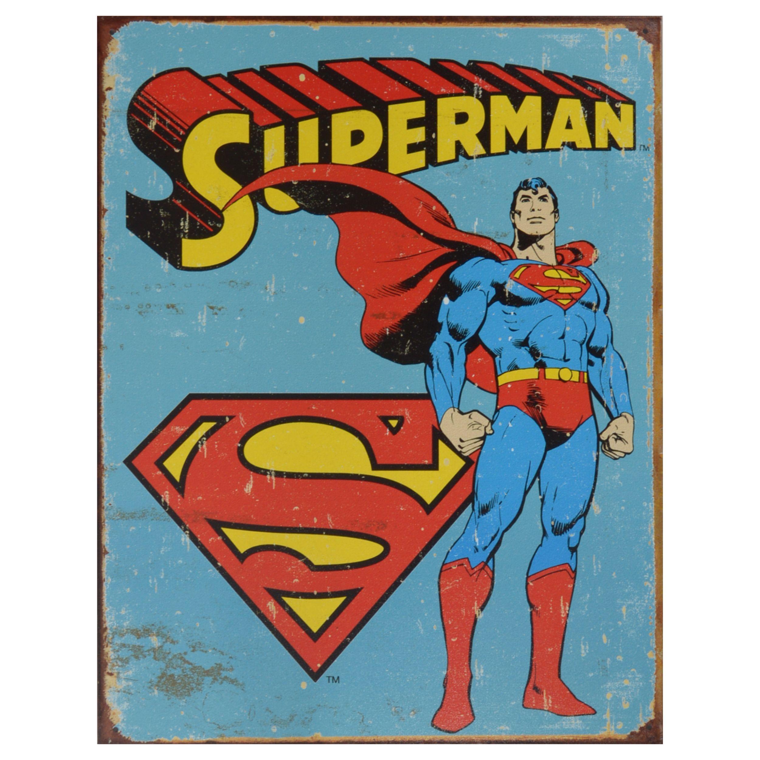 Retro Superhero Art: DC Comics Vintage Art 'Superman' Decorative Retro Tin Sign