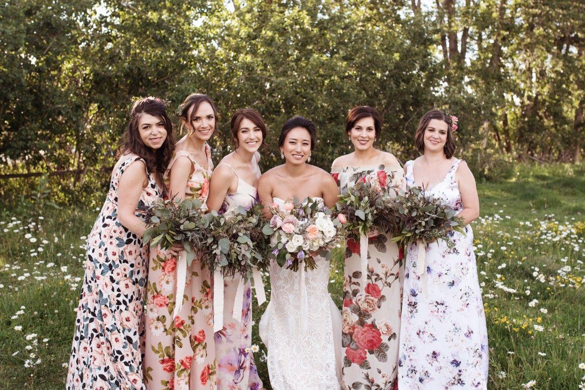 Karyn Eric Montana Wildflower Weddings Floral Bridesmaid Dresses Bridesmaid Pictures Wildflower Wedding