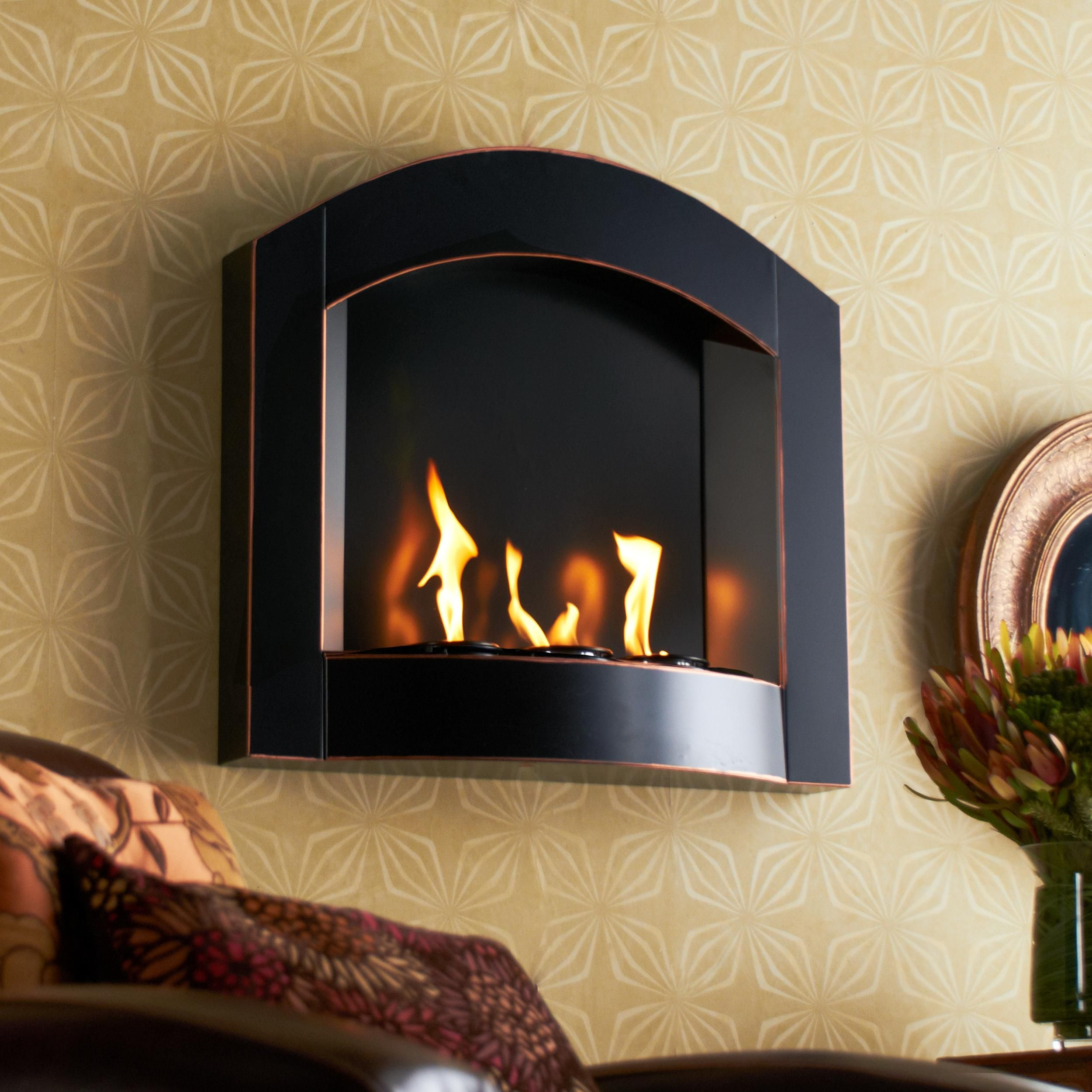 Amazon Com Sei Black Arch Top Wall Mount Gel Fuel Fireplace