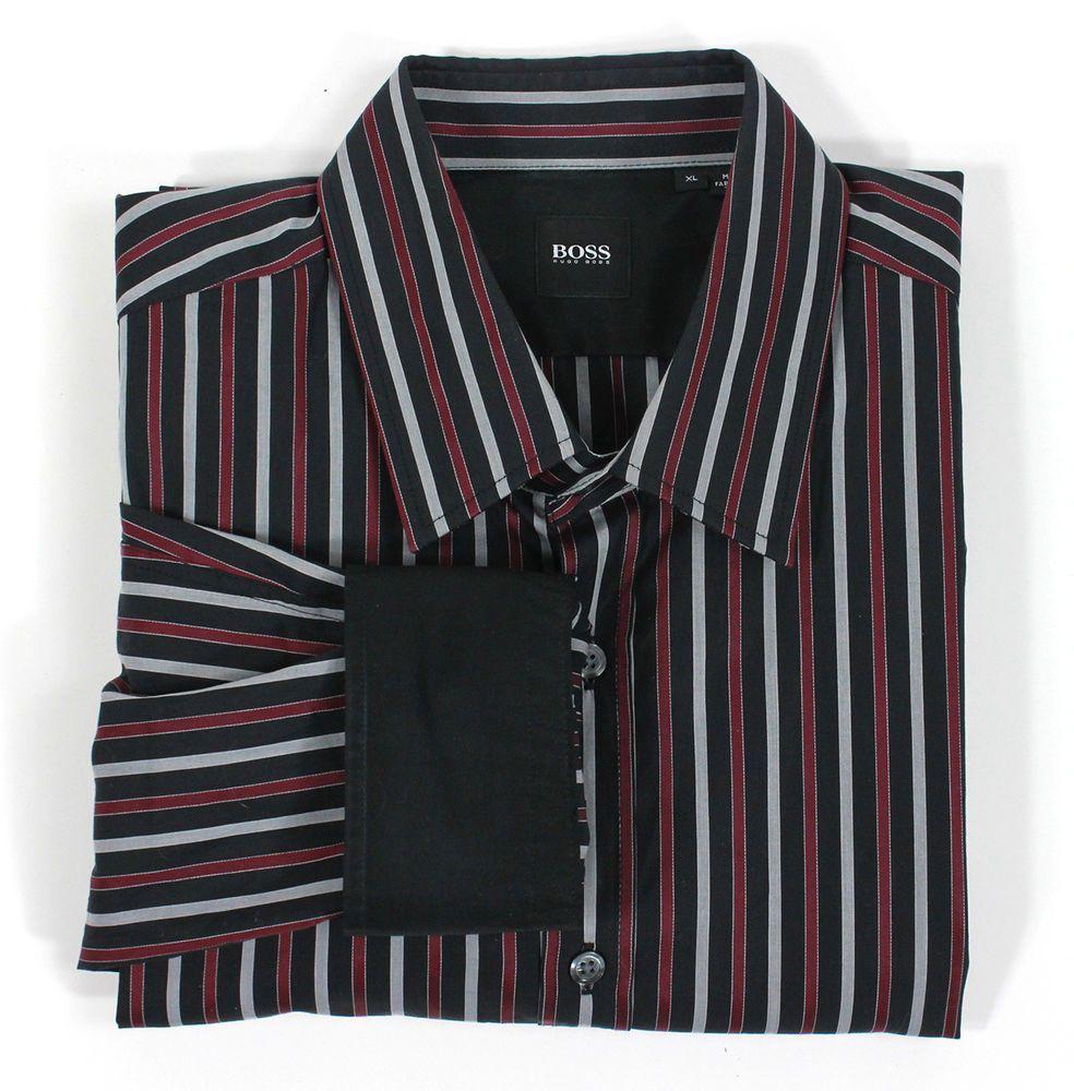 HUGO BOSS Dress Shirt XL Burgundy Black Stripes Flip Contrast Cuff Nice! Auth #HugoBoss #ButtonFront