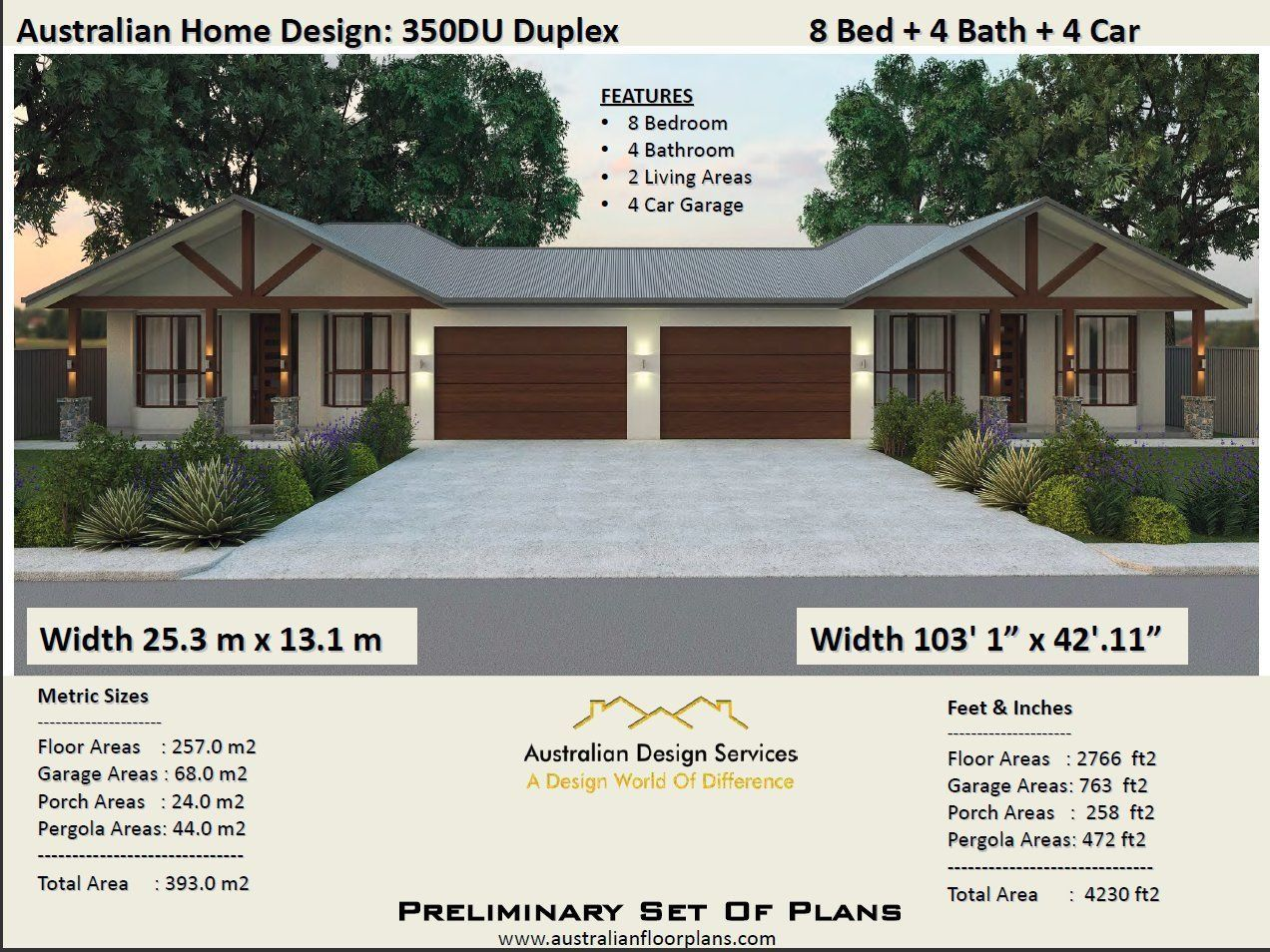 393 0 m2 or 4230 2 ft2 8 bed duplex design modern duplex