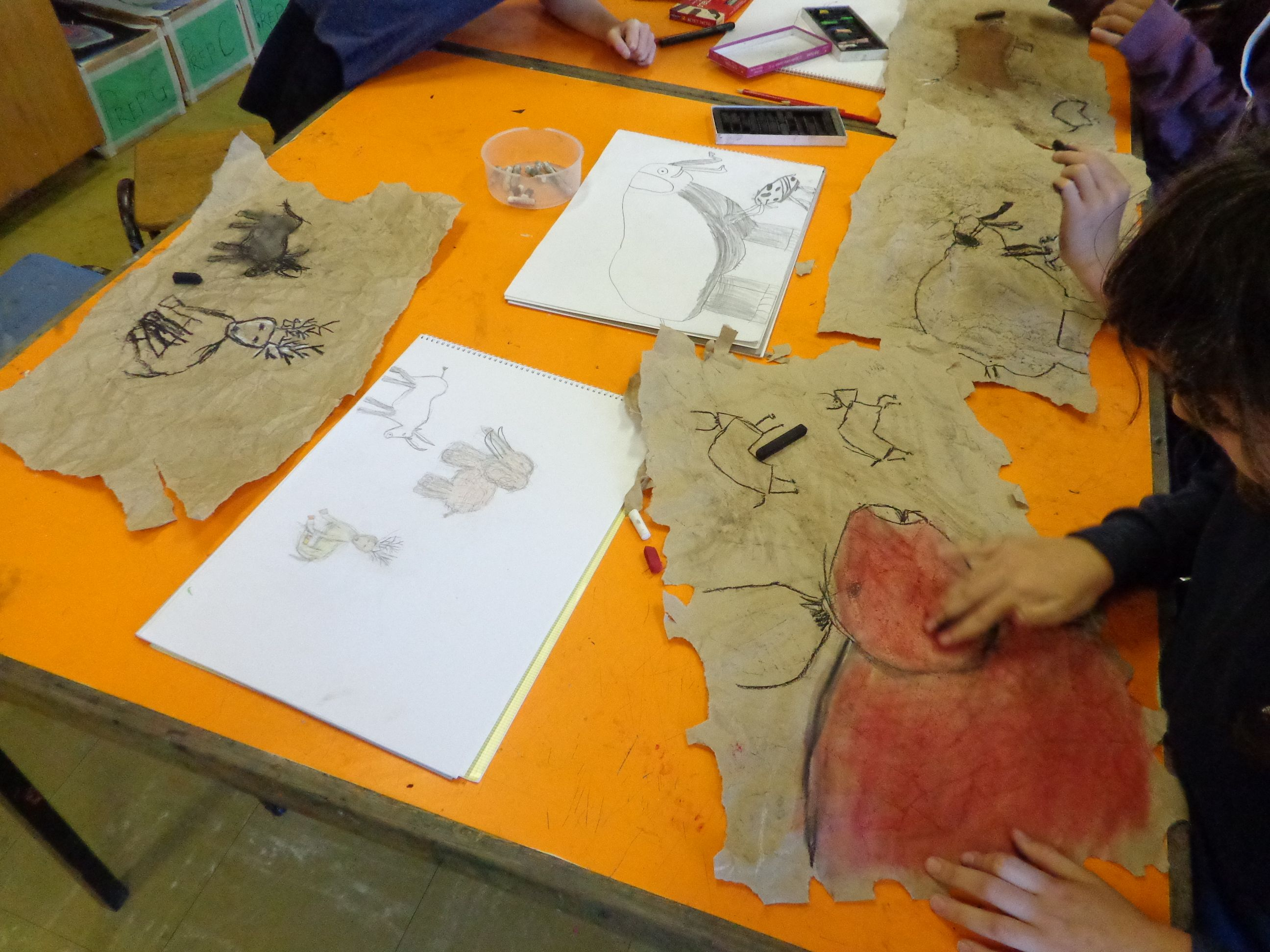 Lascaux cave drawings with my Grade 5 and 6 students