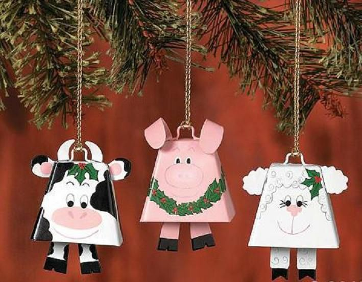 COWBELL Farm Animal Ornament, COW, or PIG, or LAMB, priced each, You Choose - COWBELL Farm Animal Ornament, COW, Or PIG, Or LAMB, Priced Each, You