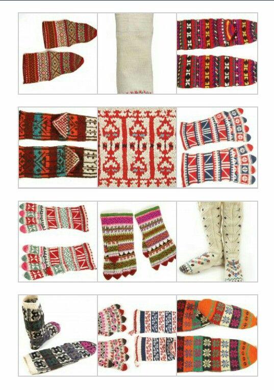 Türk motifli çorap ve eldivenler