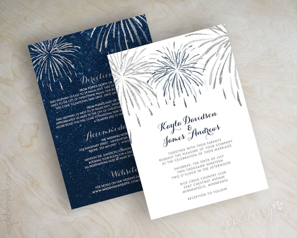 these glittery july fireworks wedding invitations are the perfect