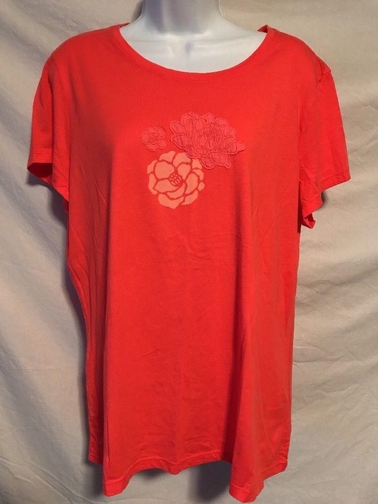 fb7b3e6a17b L.L. Bean Women XL Coral Pink Embroidered Floral Short Sleeve Cotton Shirt  Flaw