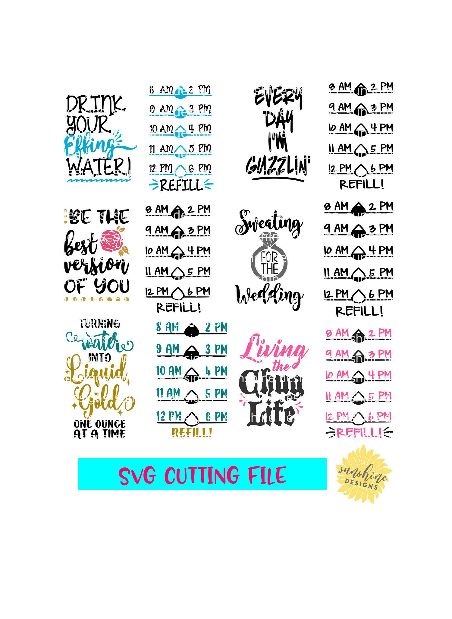 Water Bottle Motivational Tracker (Free Silhouette Cut