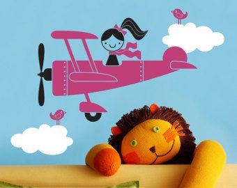 Airplane Girl Vinyl Wall Decal Kids Baby Nursery