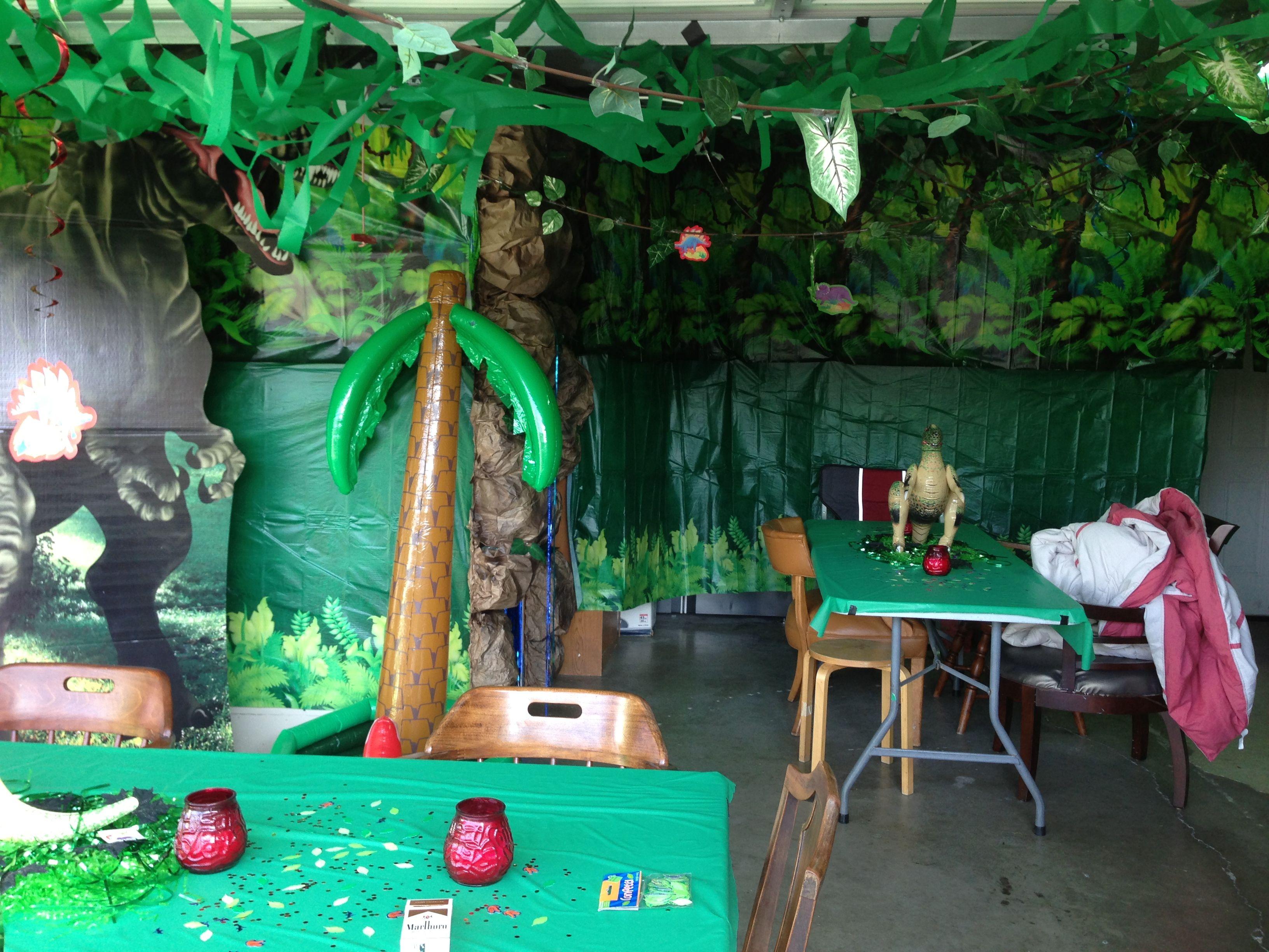Shy Dinosaurs Photography Background Safari Jungle Theme Birthday Party Background Tropical Shy Dinosaurs Cake Table Decoration