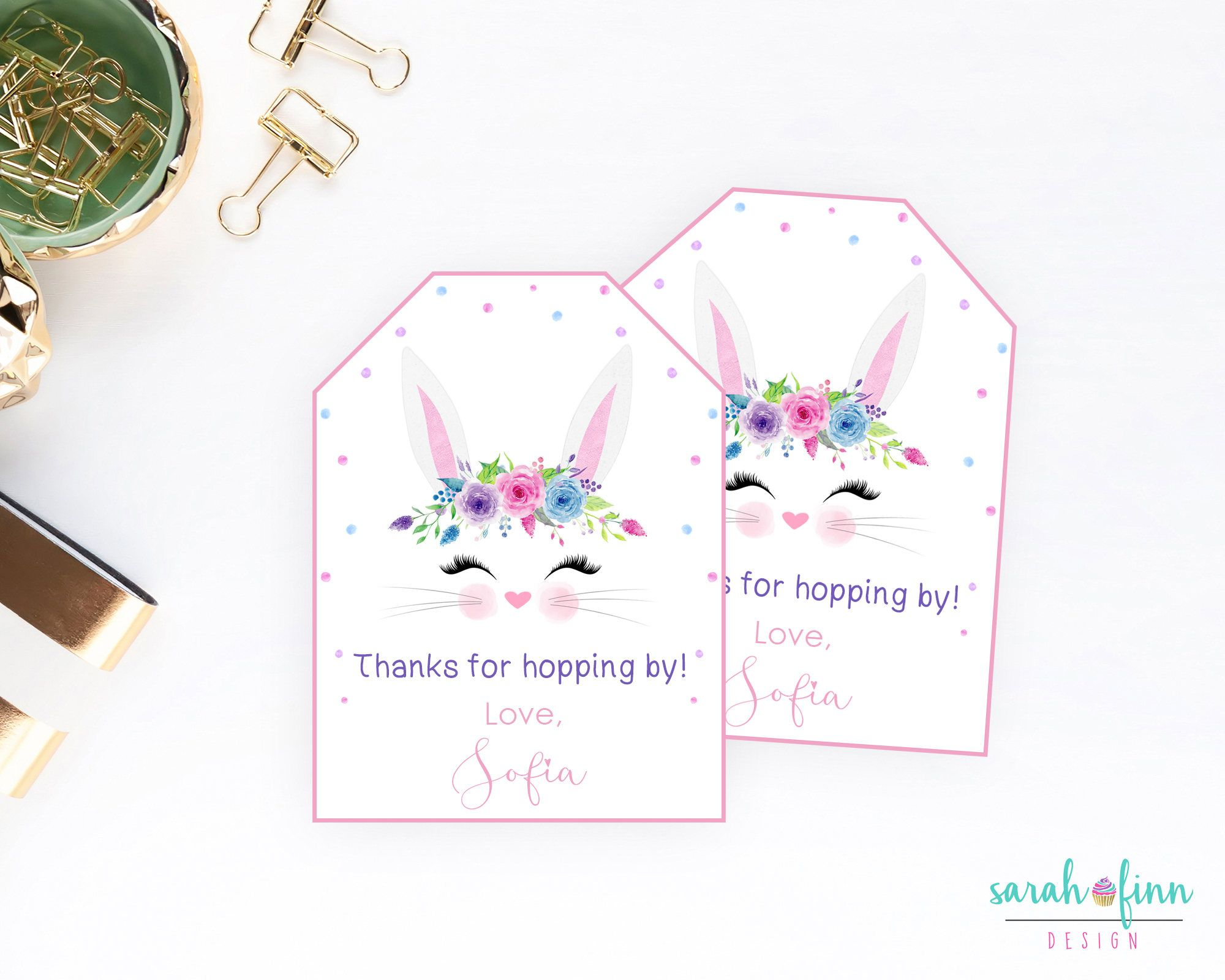 Bunny birthday party favor tags printable thank you tags hopping by bunny birthday party favor tags printable thank you tags hopping by first birthday easter gift tags negle Images