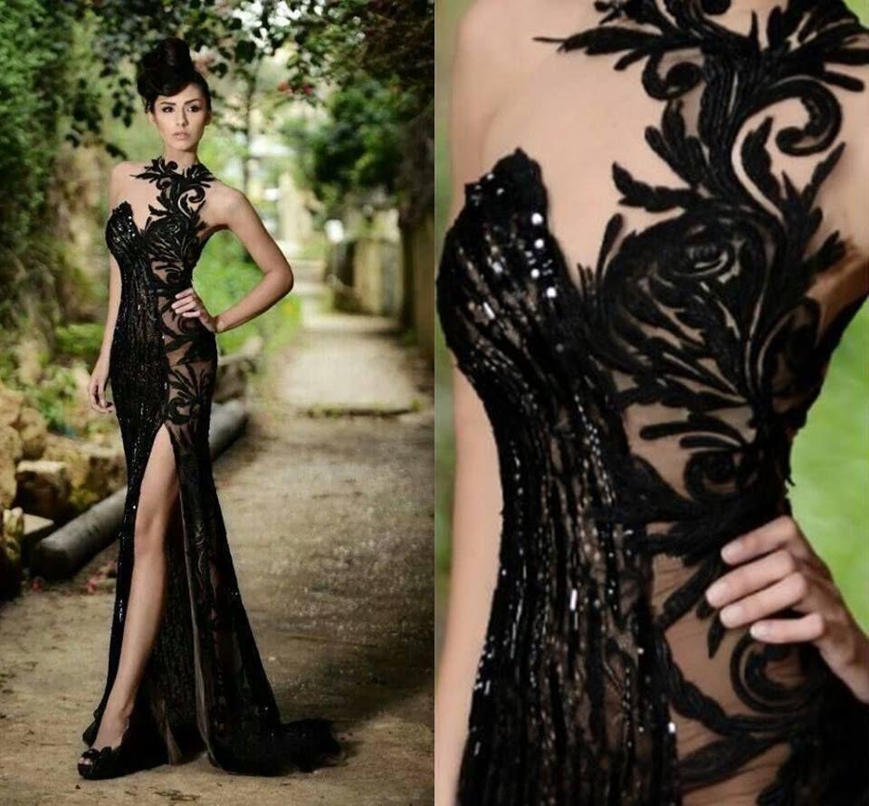 Elegante Abendkleider Lang Schwarz | Abiballkleider mit Spitze Modellnummer: BO7602